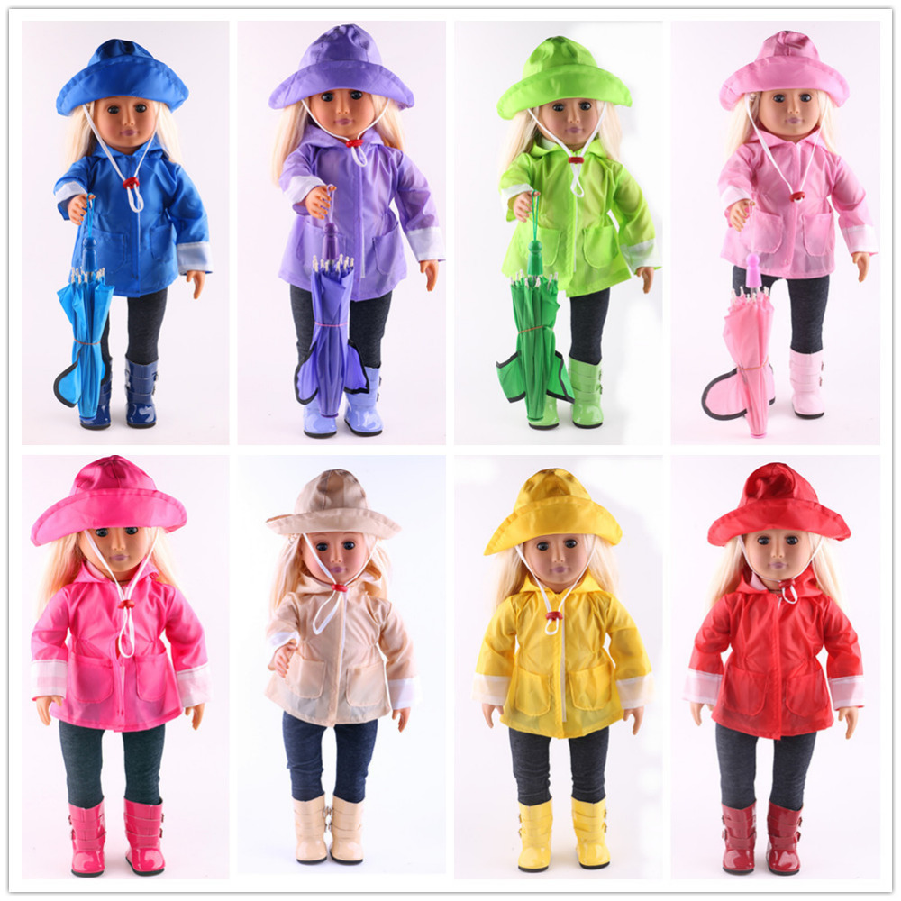 8 Colors Raincoat 3Pcs Suit=Jacket+Hat+Pants Fit 18 Inch American&43 Cm Baby-Doll Clothes Accessories,Child's Toys