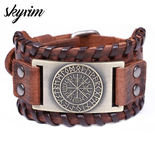 Skyrim Vintage Viking Compass Genuine Leather Bracelet for Man Bangle Nordic Runes Odin Symbol Wrap Jewelry Accessories