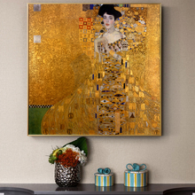 Gustav Klimt Kiss Paintings Replica On The Wall Portrait Of Adele Bloch Golden Classical Art Canvas Picture For Living Room