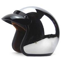 New Vintage Retro Motorcycle Helmet Silver Plating 3 4 Open Face Helmet Cruiser Touring Chopper Motorbike