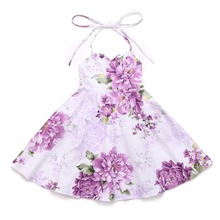 AmzBarley Summer Girl Dress with shoulder strap kids Floral Print Backless Dress Princess Party costume Children clothes купить недорого в Москве