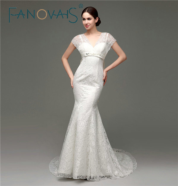 In Stocks Short Sleeves V-neck Lace Wedding Dresses Lace-up Back with Big Bow Knot Court Train Mermaid Wedding Gowns