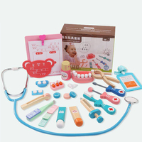 Cosplay Doctor game toy Logwood Wooden toys Funny play Real Life Dentist Medicine BoxPretend Doctor Play Set For Children