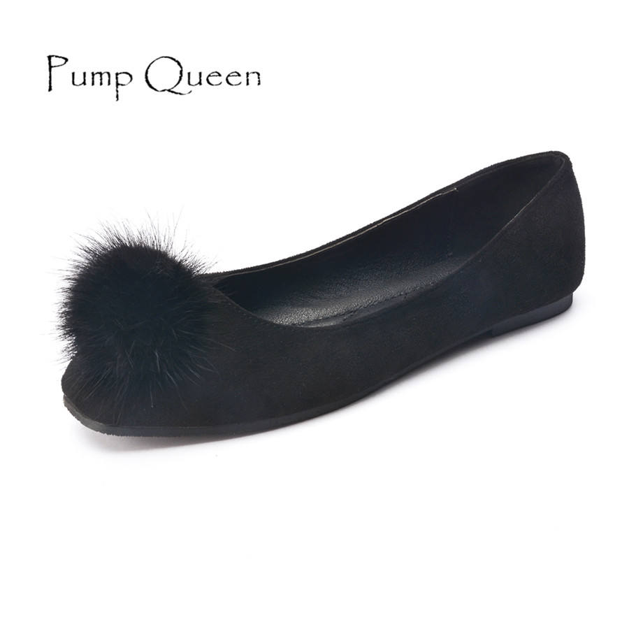 Women Flats Slip On Casual Shoes For Woman Luxury Fur Ball 2017 Autumn Fall Comfort Female Shoes Black Slipon Sapato Feminino new designer women fur flats luxury brand slip on loafers zapatillas mujer casual ladies shoes pointed toe sapato feminino black