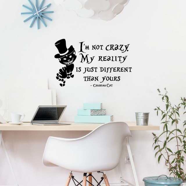 Alice in wonderland wall stickers cheshire cat quotes i am not crazy