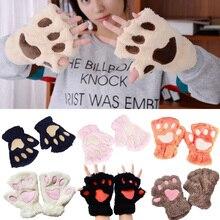2018 Winter Lovely Bear Cat Claw Paw Women Mitten Plush Gloves Short Finger Half Ladies Cover Female