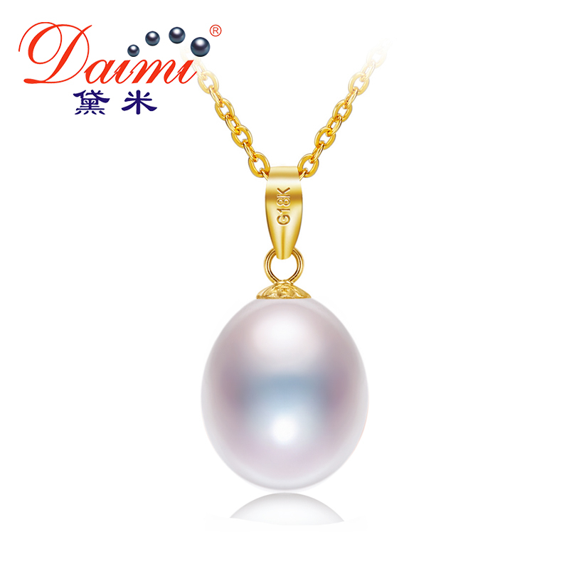 DAIMI 18K Yellow Gold Pendant 8.5-9mm Freshwater Pearl Pendant Necklace Simple Fine JewelryDAIMI 18K Yellow Gold Pendant 8.5-9mm Freshwater Pearl Pendant Necklace Simple Fine Jewelry