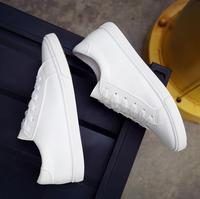 2016 New Spring And Summer With White Shoes Women Flat Leather Canvas Shoes Female White Board