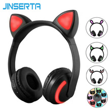 JINSERTA Auriculares con orejas de gato/conejo/ciervo/Diablo, auriculares inalámbricos con Bluetooth brillantes, intermitentes LED de 7 colores para Cosplay y juegos para niños