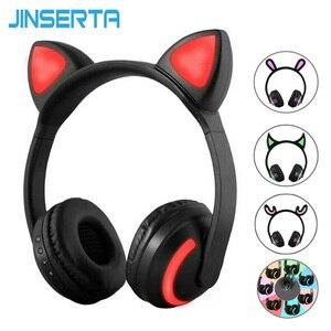 Image 1 - JINSERTA Cat/Rabbit/Deer/Devil Ear Headphones 7 Color LED Flashing Glowing Wireless Bluetooth Headphone For Cosplay Kids Gaming