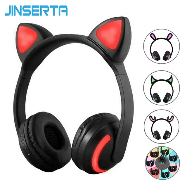 JINSERTA Cat/Rabbit/Deer/Devil Ear Headphones 7 Color LED Flashing Glowing Wireless Bluetooth Headphone For Cosplay Kids Gaming