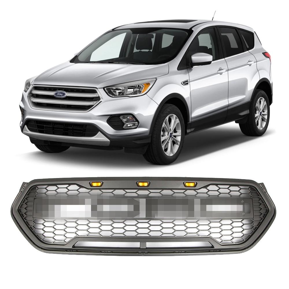 สีเทาด้านหน้าสำหรับ Ford Escape Kuga 2017-2019 รถแข่งตะแกรงด้านบน LED ย่าง Raptor กีฬาสไตล์รังผึ้งตาข่าย