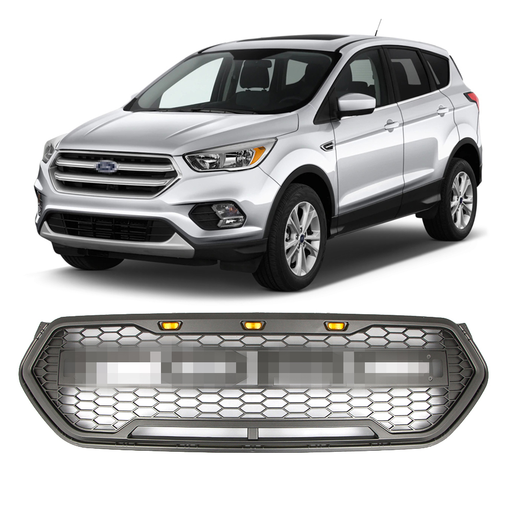 Gray Front Bumper Grille for Ford Escape Kuga 2017-2019 Racing Upper Grille LED Grill Raptor Sport Style With Honeycomb Mesh