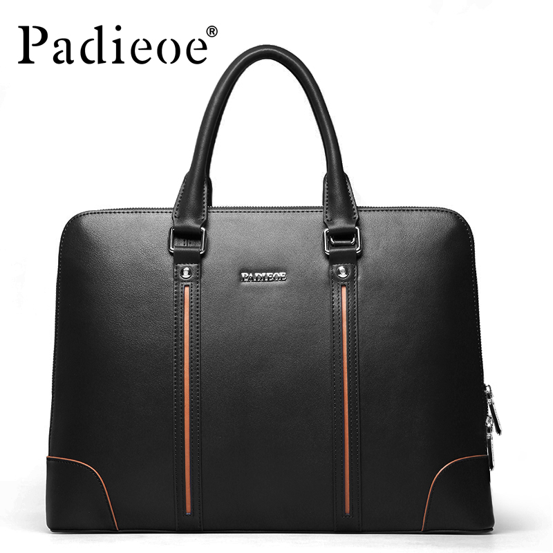 Padieoe Brand Factory Sale High Quality Leather Men Briefcase 14inch Leather Men Handbag for Laptop Classic Business Man Bag new high quality leather men laptop briefcase bag 14 inch computer bags handbag business bag fashion laptop handbag for men