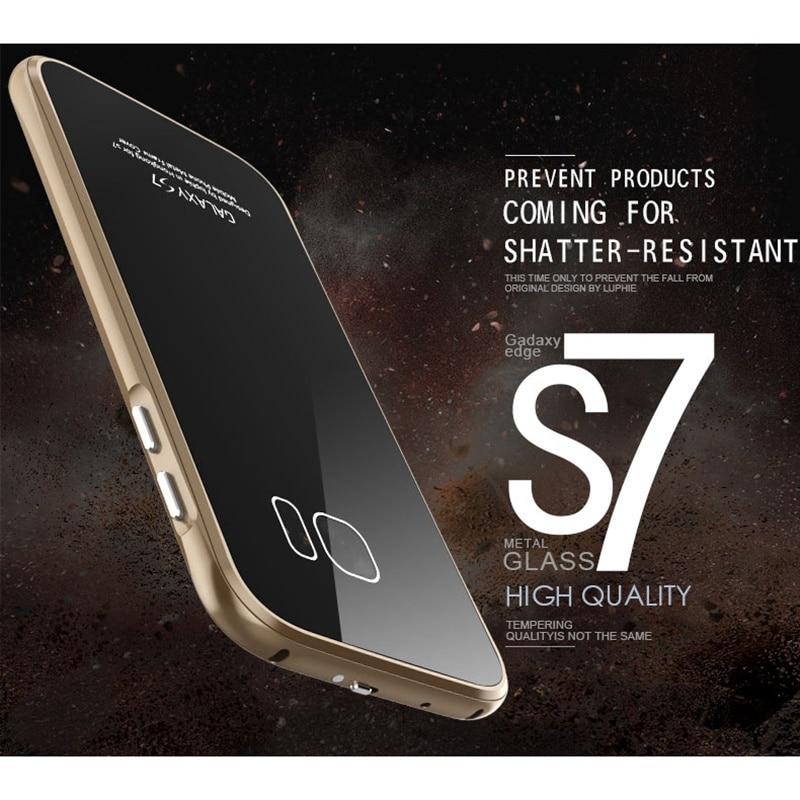 Цена за LUPHIE Бренд Роскошный Металлический Каркас Для Samsung Galaxy S7 Бампер Алюминиевый Корпус С Ползунком Закаленное Стекло Задняя Крышка sm-G930f