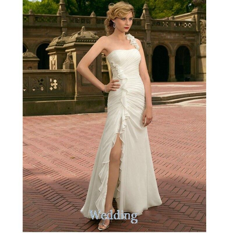 2015 Fabulous Pleat Chiffon Wedding Dress With Sexy High