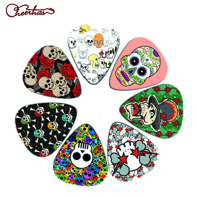 21pcs mix thin medium heavy dark skull and color skull design guitar pick plectrum for boy and girl