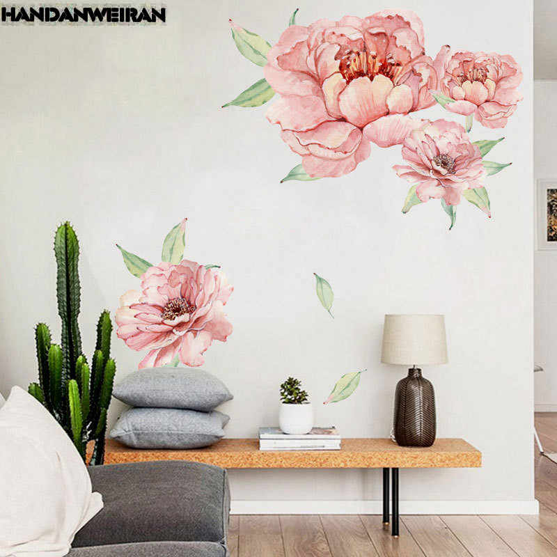 1PCS 3D Peony Rose Flowers Wall Stickers Pink Vintage ...