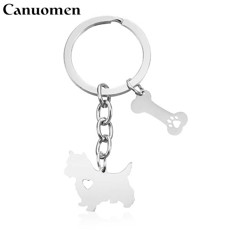 Canuomen Norwich Terrier Keychain Pet Dog Bone Hollow Claw Stainless Steel Keyrings Dog Lovers Car Key holder Fashion Jewelry
