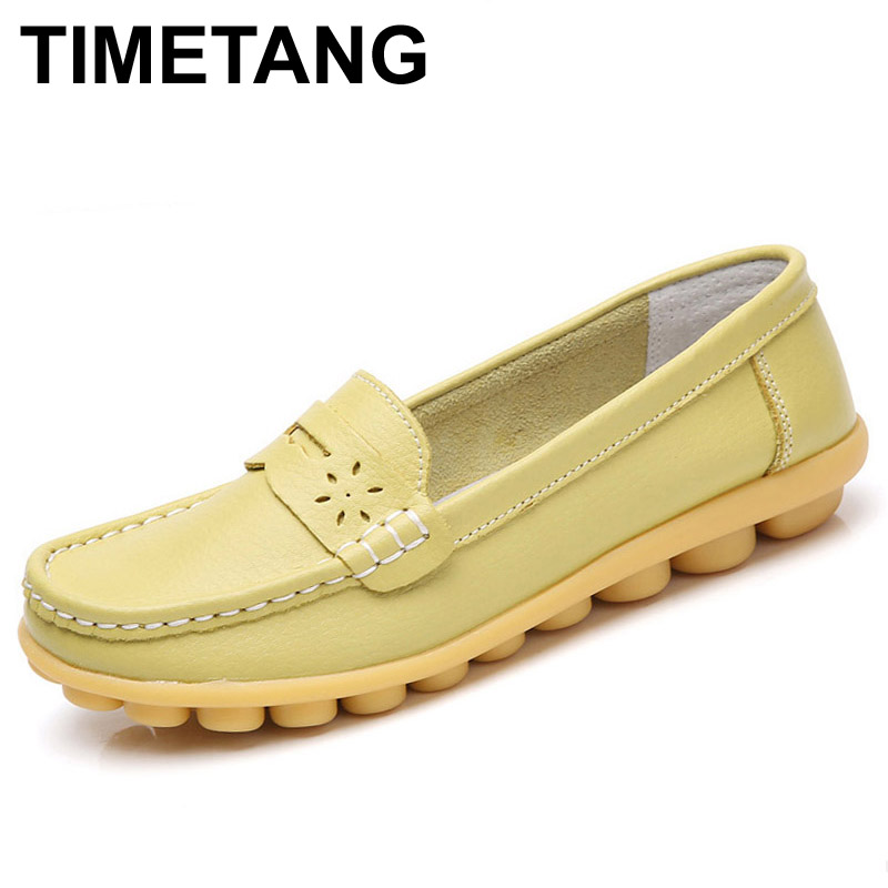 TIMETANG Women Real Leather Shoes Moccasins Mother Loafers Soft Leisure Flats Female Driving Casual Footwear Size In 4 Colors vintage embroidery women flats chinese floral canvas embroidered shoes national old beijing cloth single dance soft flats
