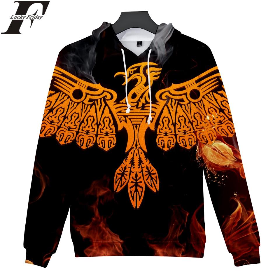 LUCKYFRIDAYF 2018 FireBird 3D cotton oversized Hoodies Sweatshirts Anime Women/Men long sleeve tracksuit Hip Hop Clothes
