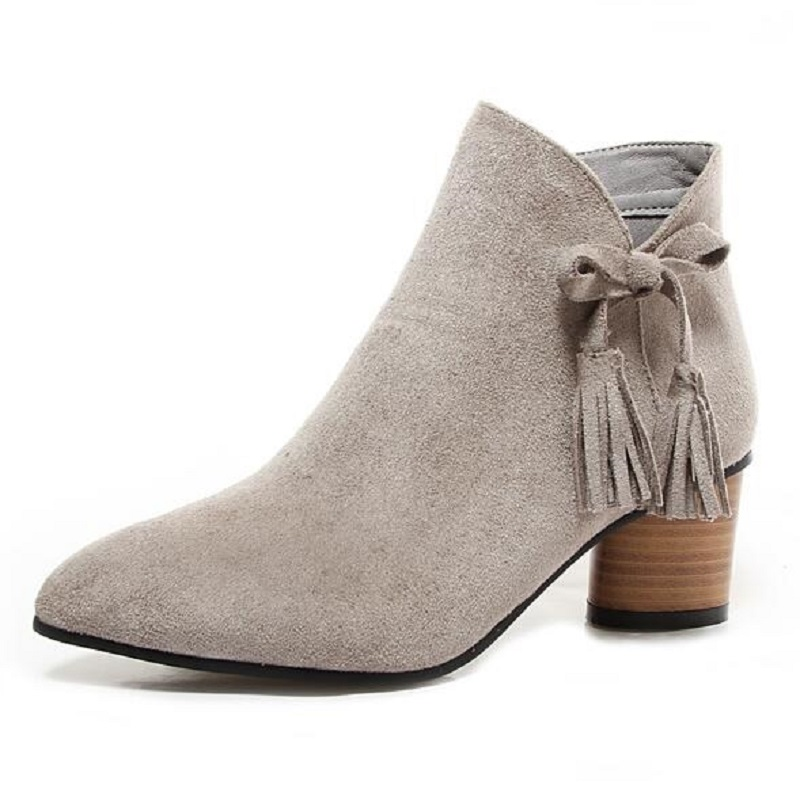 ФОТО Big Size 34-44 Western Women Boots Faux Suede-Leather Thick Heels Ankle Boots Botas Mujer Tassel Slip On Zipper Woman Shoes