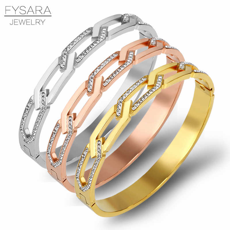 FYSARA Fashion Hollow Chain Design Bangles & Bracelets For Women Crystals Charm Bangles Rose Gold Steel Color Punk Love Jewelry