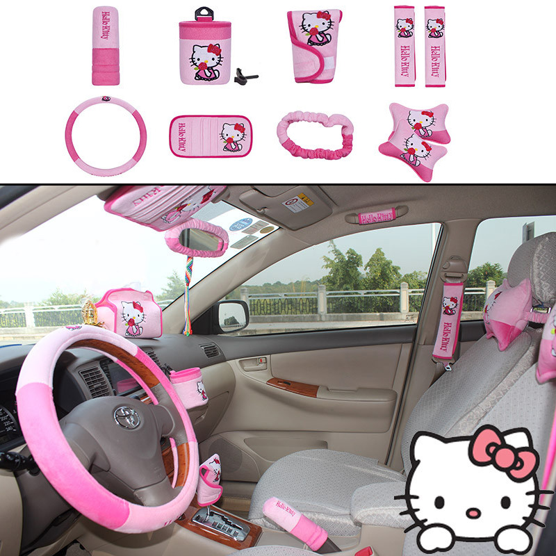 MUNIUREN 10pcs / set Cute Cartoon Car Seat Cover Interior Accessories Plush Universal Steering Wheel Cover for Women