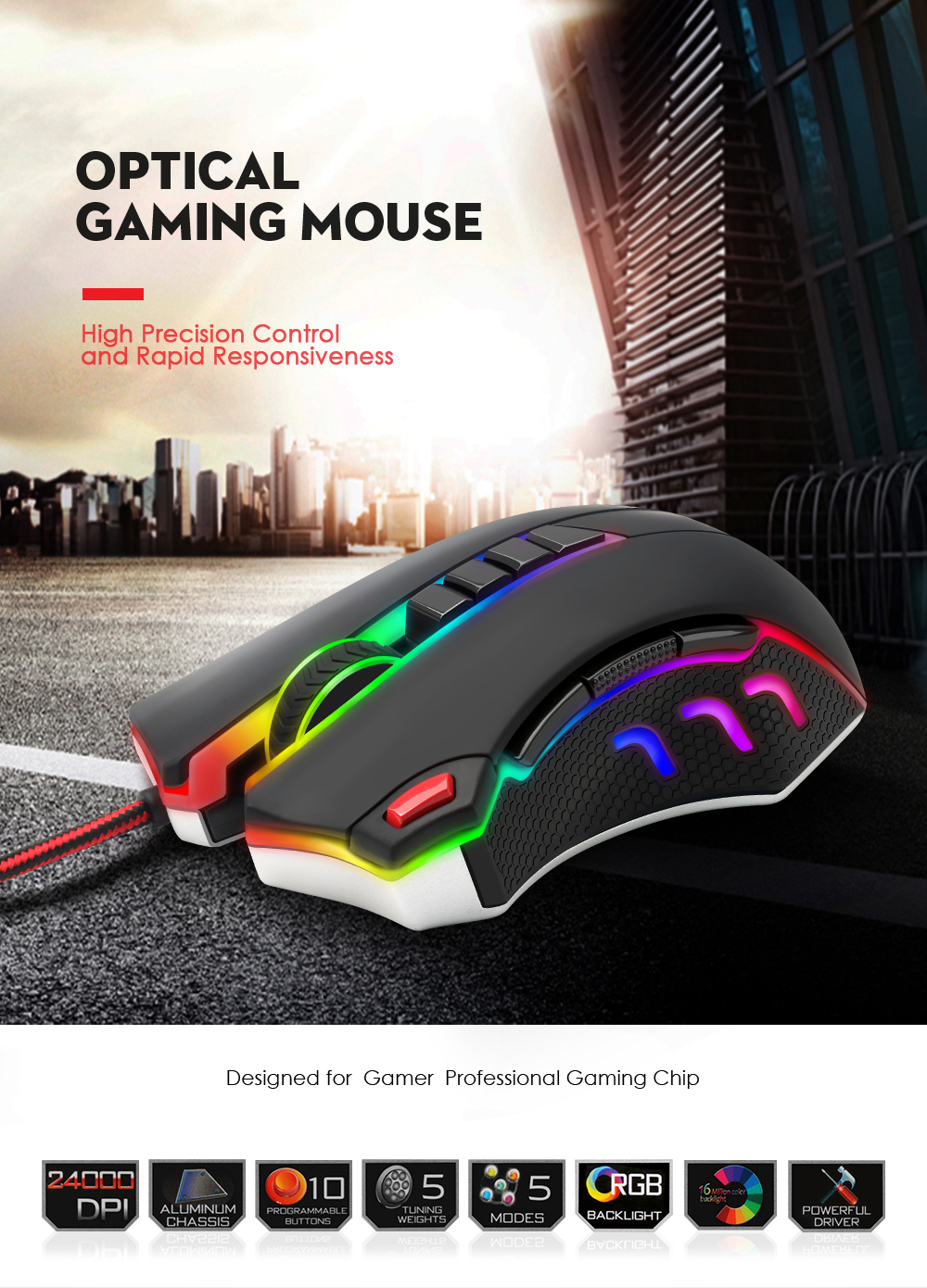 Redragon USB wired RGB Gaming Mouse 24000DPI 10 buttons laser programmable game mice LED backlight ergonomic for laptop computer 9