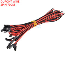 10 pces 2pin dupont linha fêmea ao passo fêmea 2.54mm 70 cm cabeça dobro 2 p cabo de ligação em ponte para o conector do pwb impressora 3d