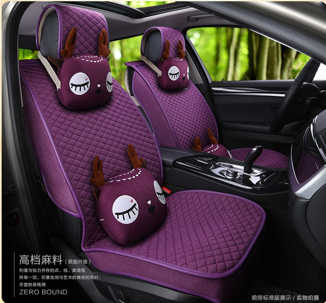 2016 New Arrival Female Flax 5 Pieces Set Car Seat Covers Four Season Women Deer