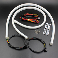 New 2pcs Universal Car Styling 45cm LED Tube White Amber Switchback Headlight Strip Day Running Light