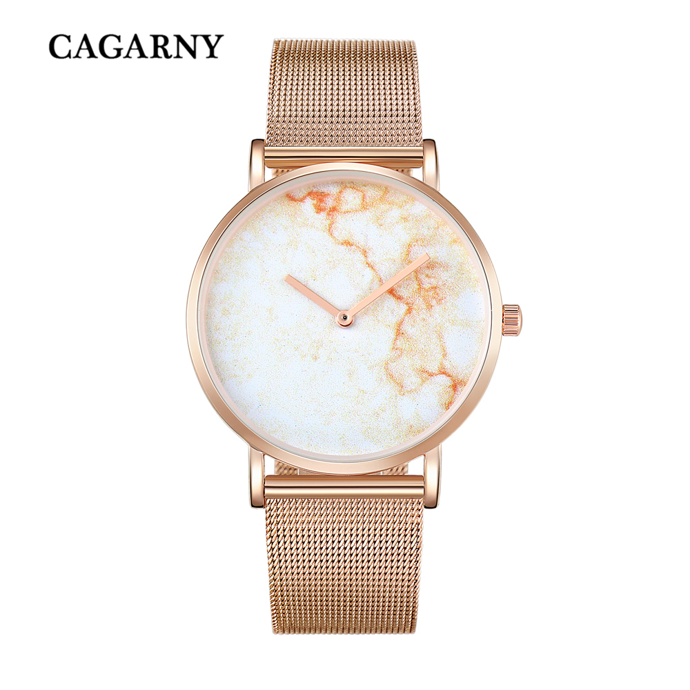 Creative Watch For Men Brand Cagarny Quartz Men's Watches Imitation Marble Pattern Relogio Masculino Rose Gold Mesh Clock Male