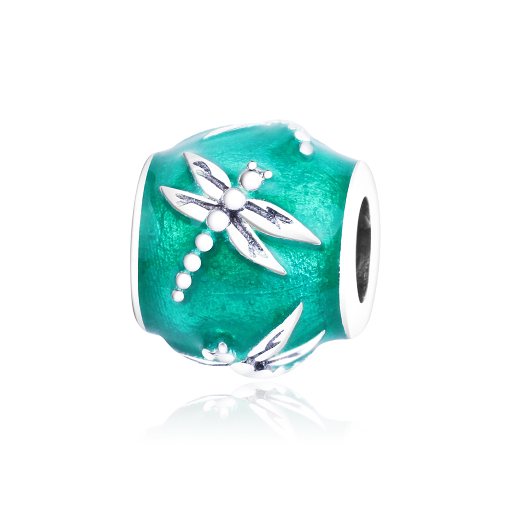 2018 Spring Collection Dragonfly Animal Charms With Green Enamel Fit Original Pandora Charm Bracelet DIY Jewelry Making berloque