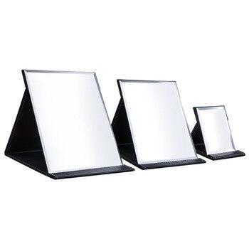 Pink Black Travel Mirror Foldable Pocket Portable Stainless Steel Rectangular Mirror Makeup Folding Compact Desktop Table Mirror 4