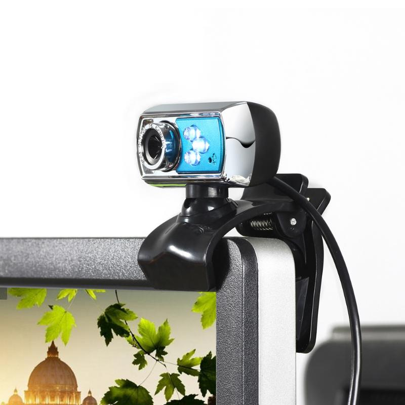 HD 12.0MP 3 LED USB Webcam Camera with Mic & Night Vision for Desktop PC