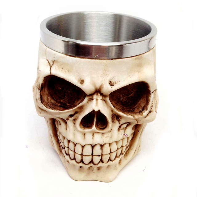 3D Realistic Skull Mugs Double Wall Stainless Steel Mug Cup Horror Big Skull Geek Coffee Beer Cup Cool Christmas Gift With Box 1