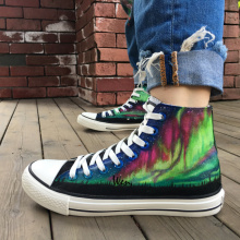Wen Hand Painted Shoes Design Custom Original Colorful Aurora Men Women's High Top Canvas Sneakers for Gifts
