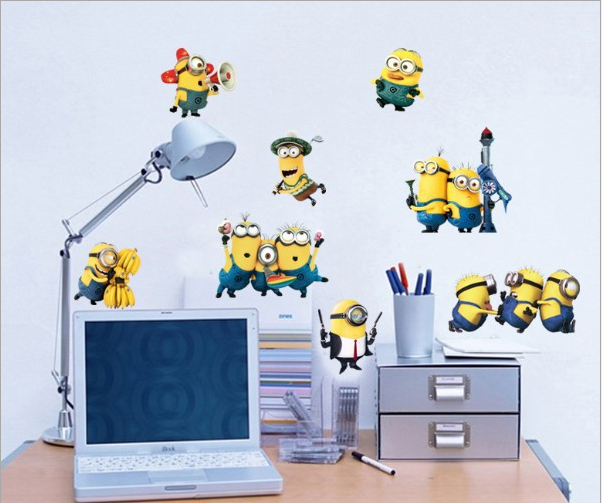 despicable me 2 minions wall stickers for kids rooms decorative wall art  removable pvc cartoon wall