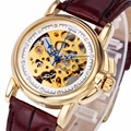 Women Noble Delicate Mechanical Wrist Watch Brown Leather Band Crystal Decoration Skeleton Movement+ BOX
