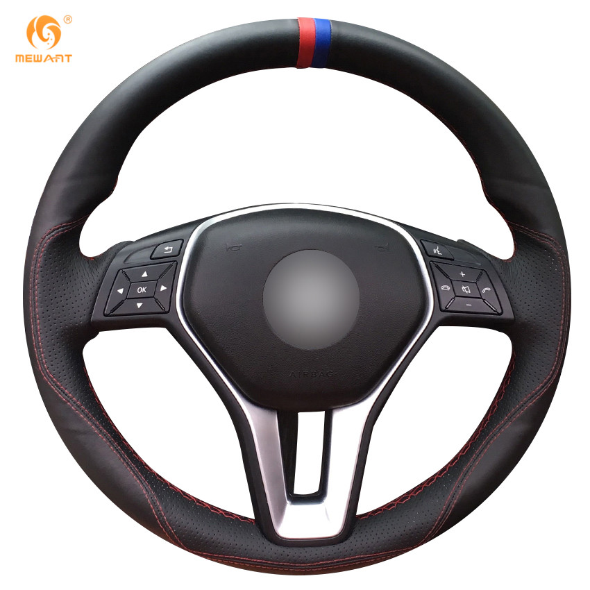 Buy mewant black leather steering wheel for Mercedes benz steering wheel cover