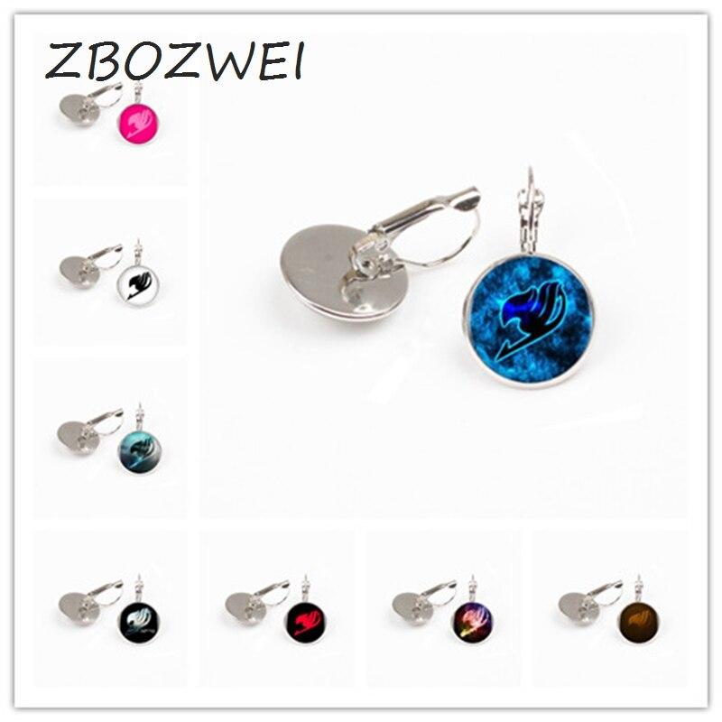 ZBOZWEI wholesale 1pcs/lot 9 Styles Fairy Tail Logo earring for Woman/Men Cabochon Vintage Black DOTA Statement earring