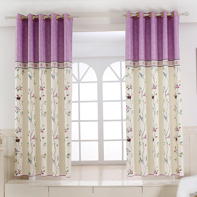American Garden Bird Splicing Children Curtain White Silk Half Shade  Printing Short Curtains For Bedroom Small