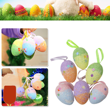6Pcs Glitter Foam Easter Eggs Hanging Crafts Decorations Baskets Ornaments Decor Party Home Color Random