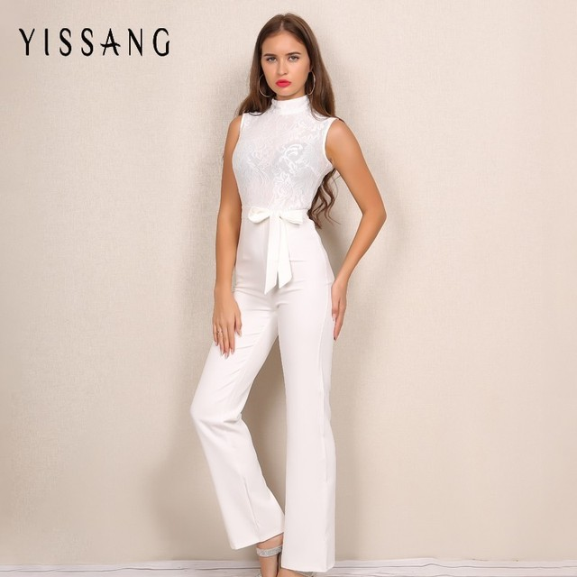 25679b32065c Yissang Elegant Women Lace Jumpsuit Long Sleeveless Solid Work Office Ladies  Romper Summer Autumn New Design