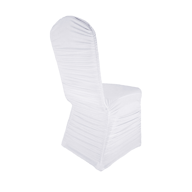 높은 품질 화이트 웨딩 이벤트에 대 한 Ruched 스 판 덱 스 라이크라의 자 커버를 뻗 치다 연회 파티 생일 장식 chaircovers