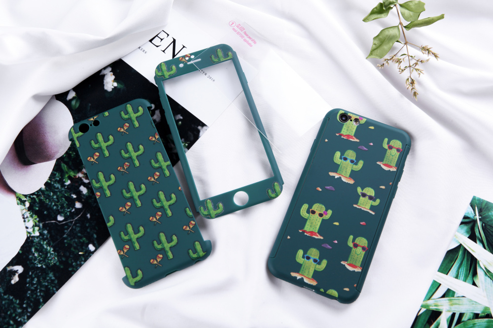 Succulent plants Case for iphone 6 6s 7 plus 360 All inclusive Cute Vase Cactus Lovers Cartoon Flower phone Shell