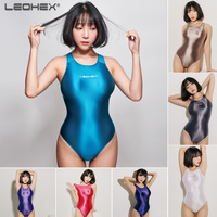 LEOHEX 2019 swimwear women sexy swimsuit transparent bathing swimming suit for One Piece bodysuit shiny high cut