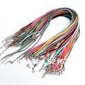 3mm 18-20 pulgadas Ajustable Assorted Color de Gamuza de Cuero Cuerda Del Collar Con cierre de Langosta 60 unids/lote D0239