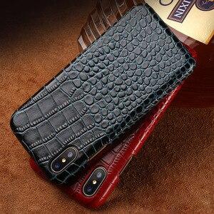 Image 2 - Telefon kılıfı Için iphone X 6 6 s Inek Deri iphone 7 7 p 8 Artı kılıf için Timsah Desen 6 p 6sp kılıf Sert Kapak